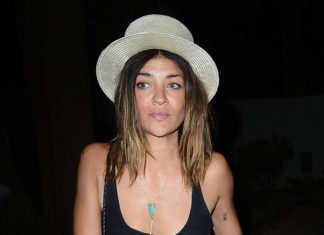 Jessica Szohr in a see through tank top and NO BRA