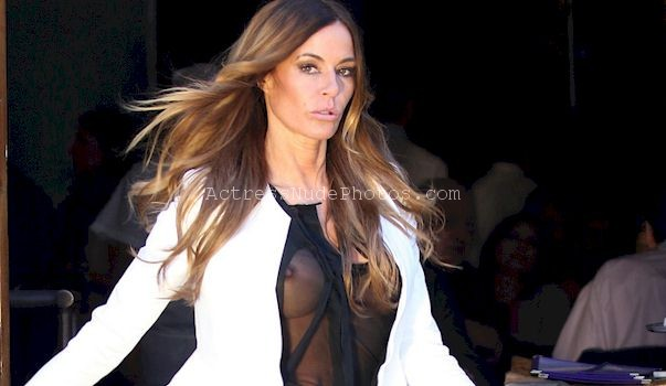 See through pics of a braless Kelly Bensimon showing boobs