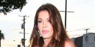 Reality star Lisa Vanderpump wearing a see through top and no bra
