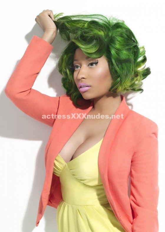 Nicki Minaj hot milky cleavage for Spring magazine