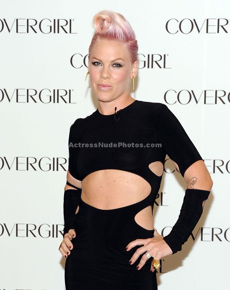 Pink see thru black dress nipples visible